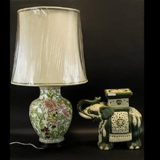 A Contemporary Oriental Ceramic Table Lamp Of baluster form,...