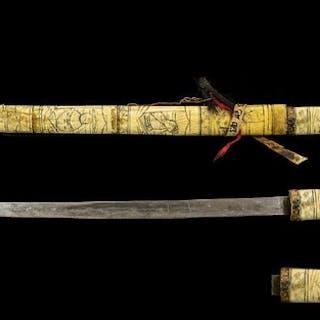 Japanese - Carved Ivory Bone Handle - Short Sword Tanto Comp...