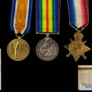 A Collection Of Three WWI Military Medals Each awarded to 23...