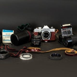 Praktika PLC2 35mm Camera And Lenses In red leather case, to...