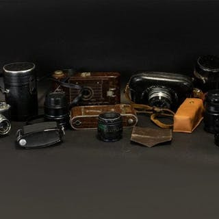 Collection of Cameras & Lenses including vintage 'Harkette' ...