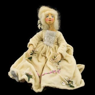 A Vintage Wax Doll Handmade doll with wired armature, cloth ...