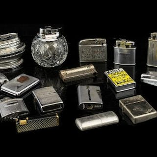 A Mixed Collection Of Vintage Lighters Approx 15 in total to...