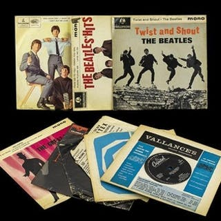A Collection of Vinyl Single Records including The Beatles, ...