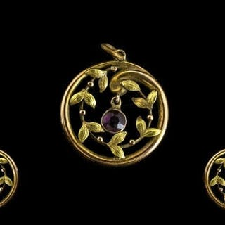 Antique 9ct Gold And Amethyst Set Pendant Necklace Of open, ...