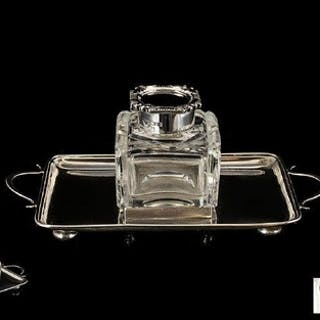 Edwardian Period Pleasing Silver Inkstand. Rectangular in f...
