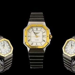 Longines Ladies Octagonal Shaped Two Tone Steel Quartz Wrist...