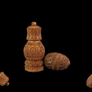English 19th Century Superb Carved Coquilla Nut Sand / Pounc...
