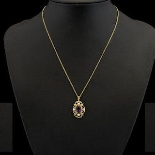 A 9ct Gold Amethyst And Seed Pearl Pendant Necklace Quatrefo...