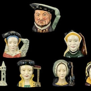 Royal Doulton Hand Painted Set of Large Character Jugs ( 7 )...