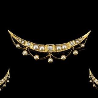 Antique Period 18ct Gold Crescent Shaped Tiara Diamond and P...
