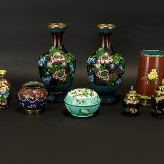 A Collection Of Modern Oriental Cloisonne Vessels Ten items ...