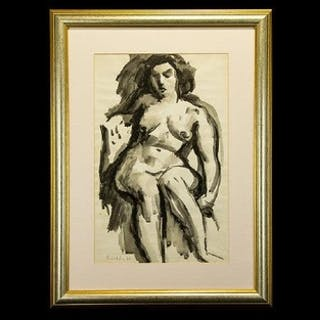 Painting by Emmanuel Levy. Iconic nude study in watercolour ...