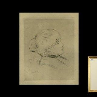 After Auguste Renoir Etching ' Portrait Of Berthe Morisot' F...