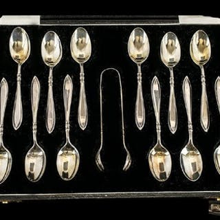 1920's Boxed Set of 12 Sterling Silver Teaspoons + Matching ...