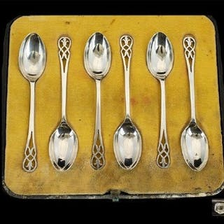 Walker and Hall Pleasing Set of Six Silver Coffee / Liqueur ...