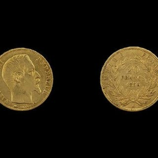 French - Napoleon III 20 Francs Gold Coin - Date 1856. Mint ...