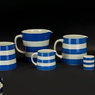 T.G. Green 'Cornish Ware' Jugs. Set of 4 graduating jugs of ...