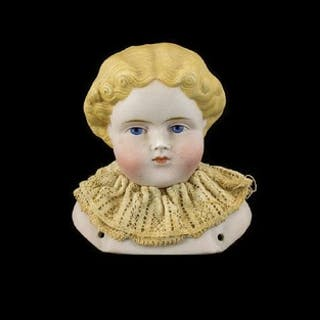 19th Century German Bisque Head Boudoir Doll Painted eyes an...
