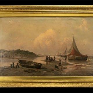 After H Eschke Framed Oilograph Antique untitled oil over pr...