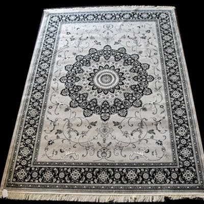 A Large Woven Silk Carpet Keshan rug with grey ground and bl...