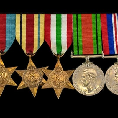 World War II Collection of Military Medals with Ribbons. Com...