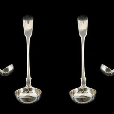 Scottish 19th Century Pair of Fine Quality Sauce Ladles with...