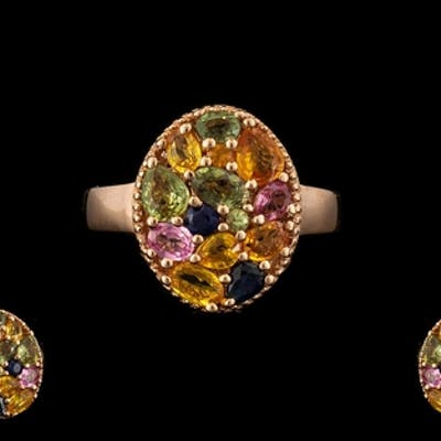 Multi Colours of Sapphire Cluster Ring, a variety of oval, r...
