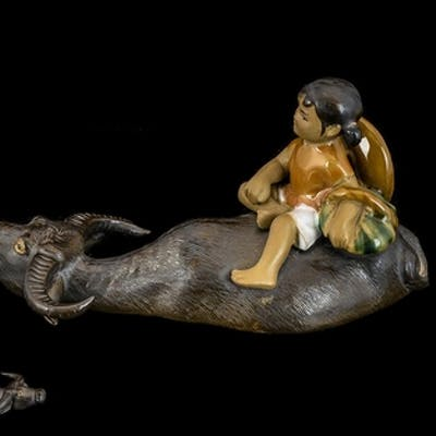 Early 19th Century Chinese Water Buffalo with Girl Figure. ...