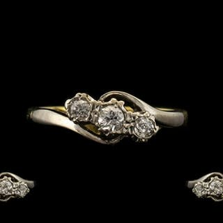 18ct Three Stone Diamond Ring set with three round cut diamo...