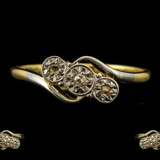 18ct Gold Diamond Ring set with three diamond chips on a twi...
