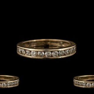 14ct Gold - Diamond Set Half Eternity Ring. Fully Marked for...
