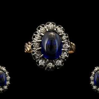 Russian - 1970s Fine Quality 14ct Gold Sapphire & Diamond Se...