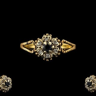 18ct Yellow Gold Sapphire and Diamonds Set Cluster Ring, Flo...