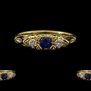 18ct Gold - Attractive Diamond and Sapphire 3 Stone Ring, Gy...