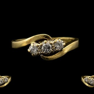 18ct Gold Attractive 3 Stone Diamond Ring. Fully hallmarked...