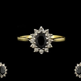 18ct Yellow Gold Sapphire and Diamond Set Cluster Ring. Flow...