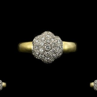 18ct Gold Diamond Set Cluster Ring - Flowerhead Design of So...
