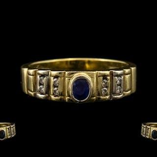 14ct Gold Contemporary & Attractive Diamond & Sapphire Dress...