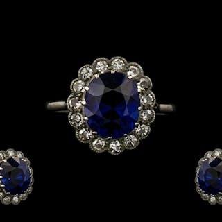 Art Deco Period 18ct White Gold Attractive Sapphire & Diamon...