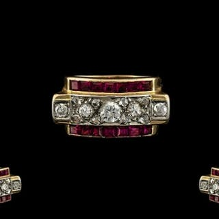 Art Deco Period 18ct Gold Diamond and Ruby Set Dress Ring, P...