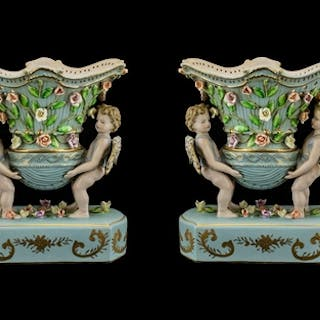German - Late 19th Century Pair of Hand Painted Porcelain Fi...