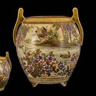 Japanese - Meiji Period 1864-1912 Unusual Satsuma Globular S...