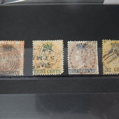 Straits Settlements 1st Issue group of 4 x Victoria overprin...