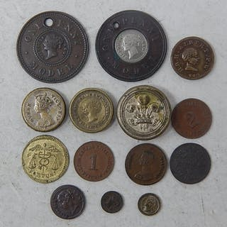 Collection of model and toy money coins, Prince of Wales box...