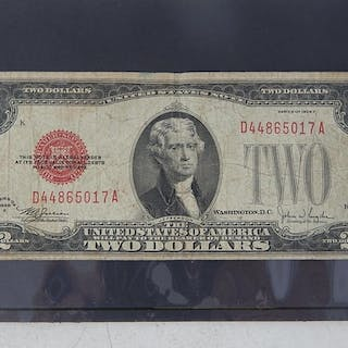 USA Currency Note 1928 2 Dollar Bill Red Seal Note Paper Mon...