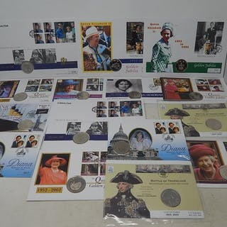 Collection of 15 x Commemorative Coins all on Philatelic Cov...
