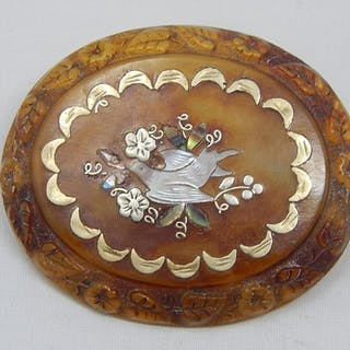 Oval Blonde Tortoiseshell Brooch c.1900 with a Gold Demi Lun...