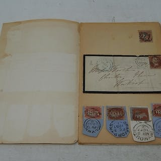 Vintage Stamp Club Book containing on page 1: a Victorian P...
