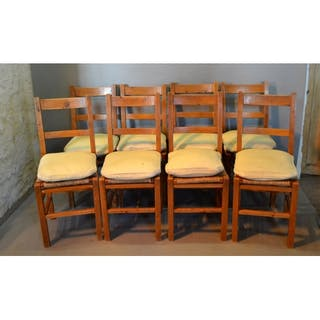 A Set Of Eight Yew Dining Chairs Each With Rail Back Above Current Sales Barnebys